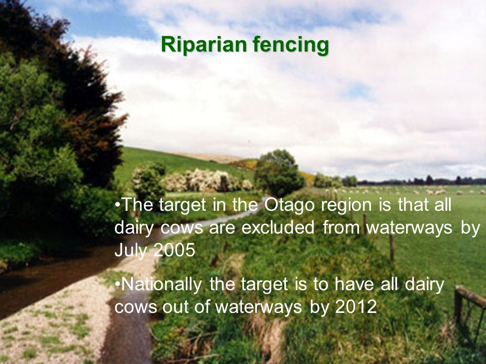 Riparian fencing The target in the Otago region is that all dairy cows are excluded from waterways by July 2005 Nationally the target is to have all d
