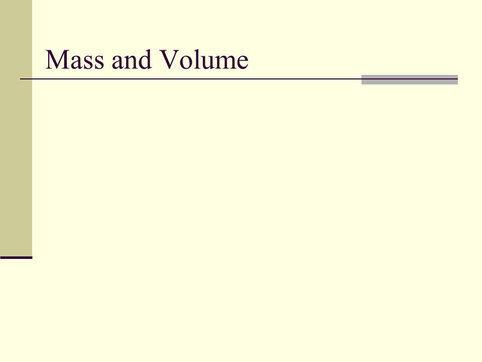 Mass and Volume