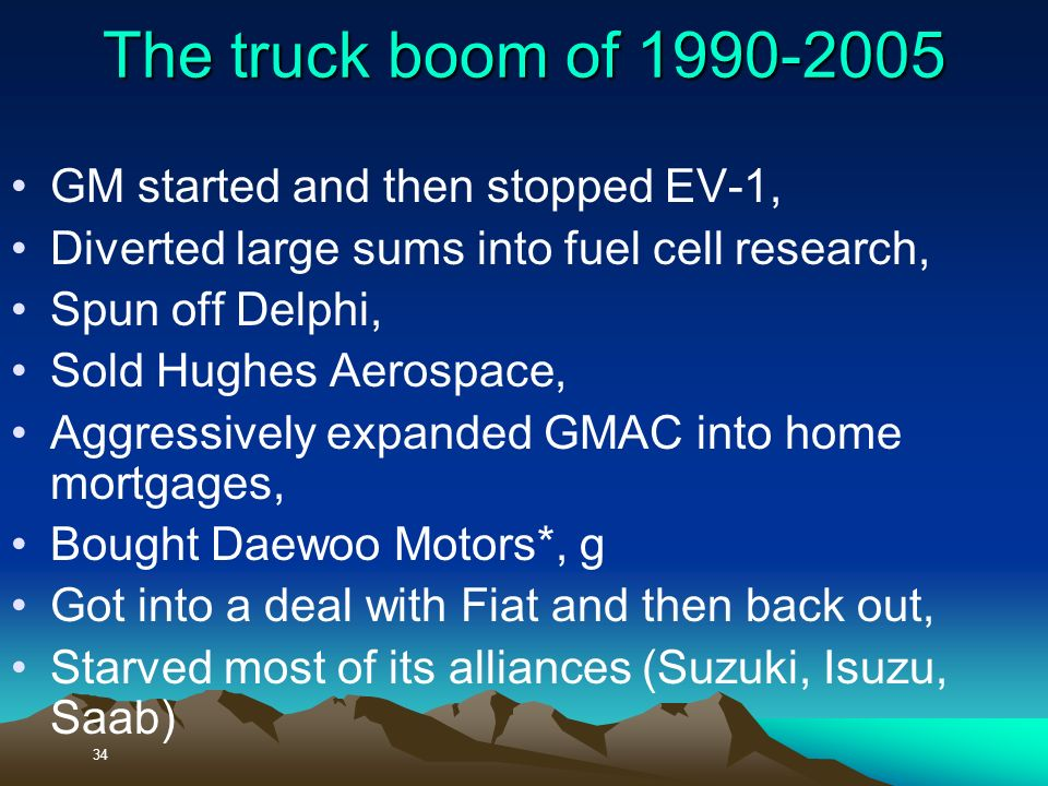 34 The truck boom of 1990-2005 GM started and then stopped EV-1, Diverted large sums into fuel cell research, Spun off Delphi, Sold Hughes Aerospace, Aggressively expanded GMAC into home mortgages, Bought Daewoo Motors*, g Got into a deal with Fiat and then back out, Starved most of its alliances (Suzuki, Isuzu, Saab)