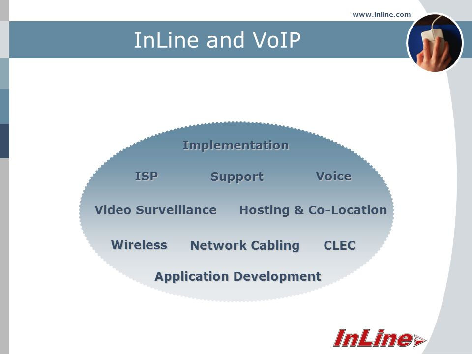 www.inline.com InLine and VoIPImplementationVoice Network Cabling Hosting & Co-Location Support Video Surveillance Wireless CLEC ISP Application Development