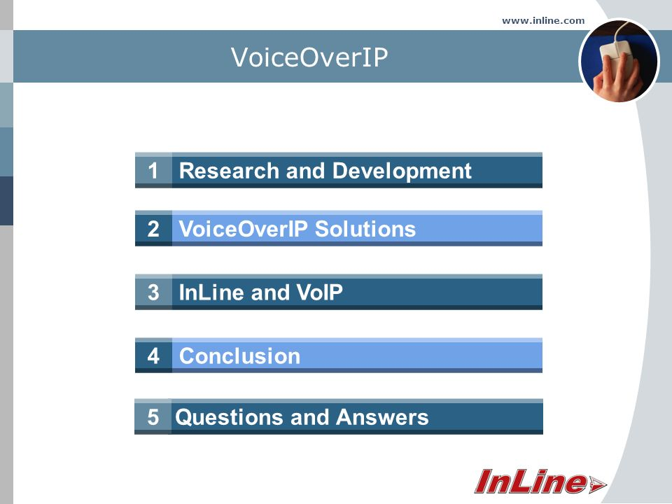 www.inline.com Research and Development1 VoiceOverIP VoiceOverIP Solutions2 InLine and VoIP3 Conclusion4 Questions and Answers5