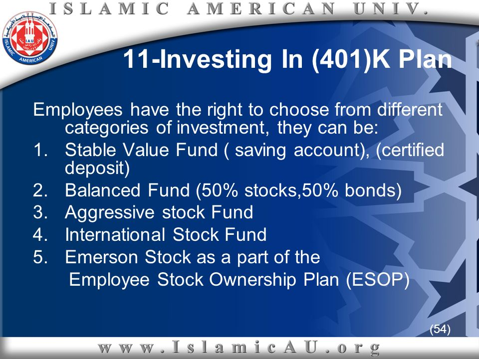 (54) 11-Investing In (401)K Plan Employees have the right to choose from different categories of investment, they can be: 1.Stable Value Fund ( saving
