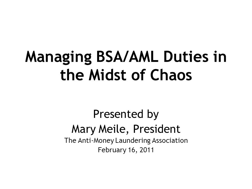 Managing BSA/AML Duties in the Midst of Chaos Presented by Mary Meile, President The Anti-Money Laundering Association February 16, 2011
