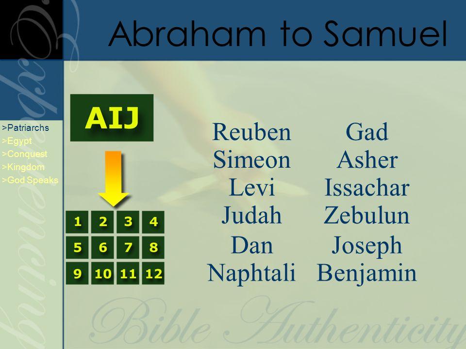 Abraham to Samuel Reuben Simeon Judah Dan Naphtali Joseph Gad Zebulun Benjamin Levi Issachar Asher >Patriarchs >Egypt >Conquest >Kingdom >God Speaks