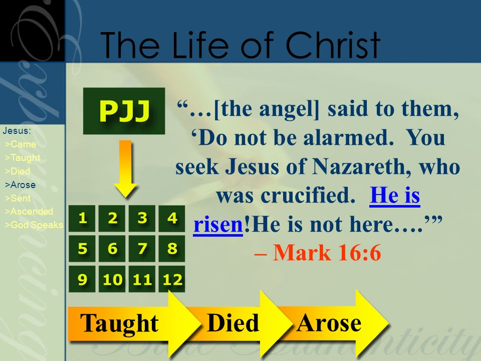 …[the angel] said to them, Do not be alarmed. You seek Jesus of Nazareth, who was crucified.