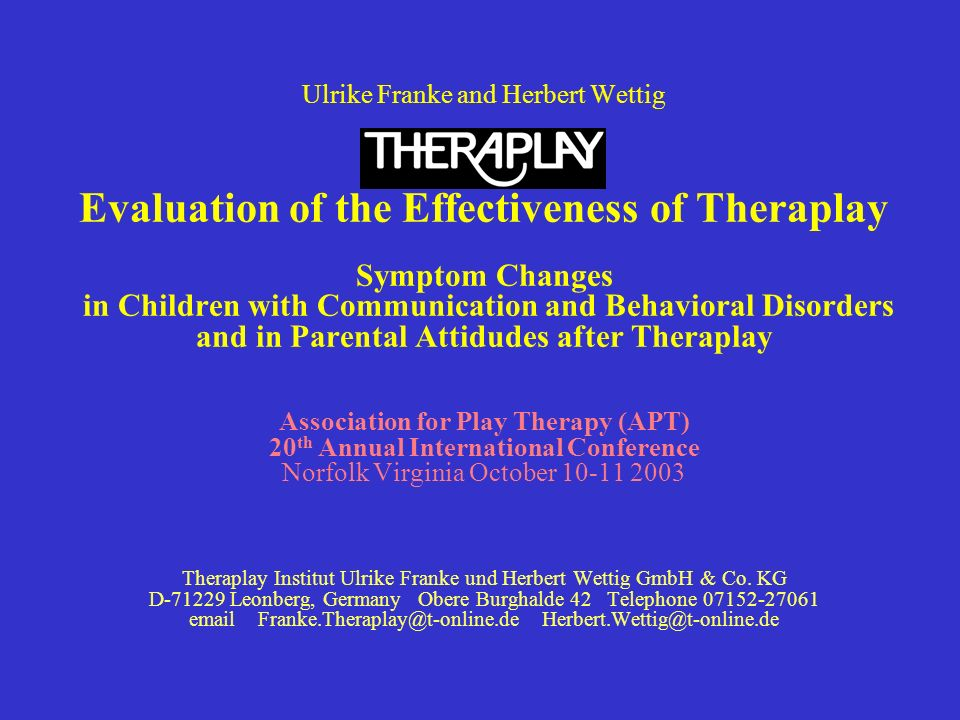 Ulrike Franke and Herbert Wettig Evaluation of the Effectiveness of Theraplay Symptom Changes in Children with Communication and Behavioral Disorders