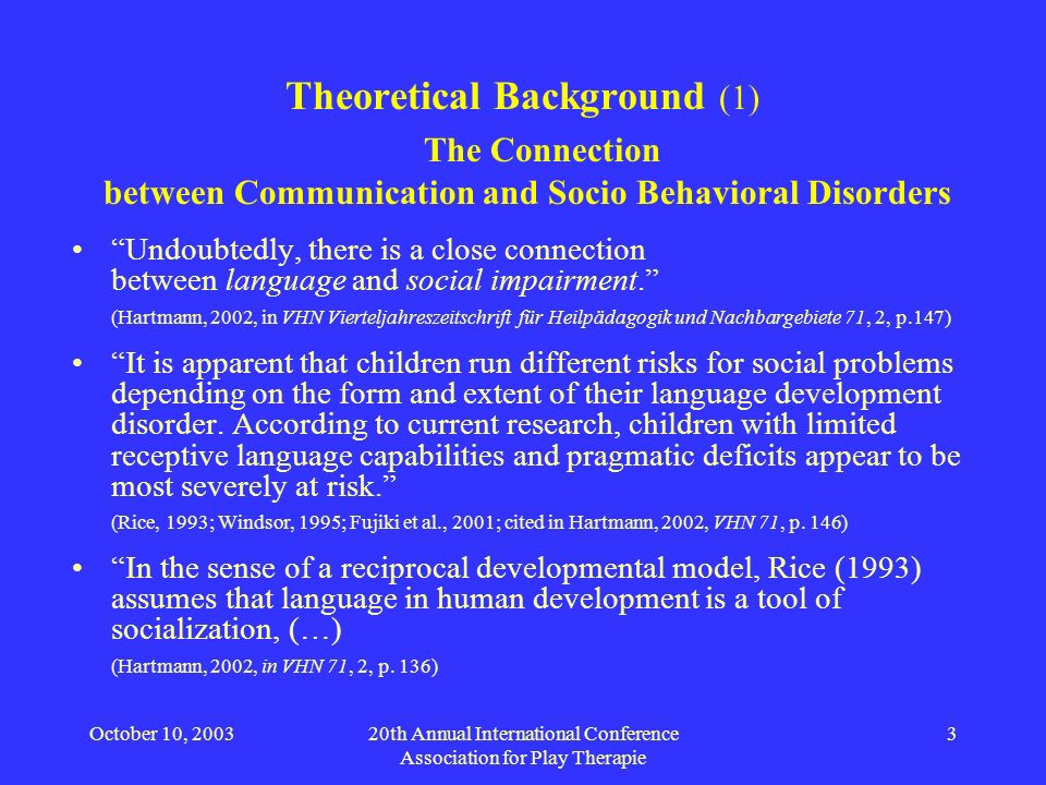 October 10, 200320th Annual International Conference Association for Play Therapie 3 Theoretical Background (1) The Connection between Communication a