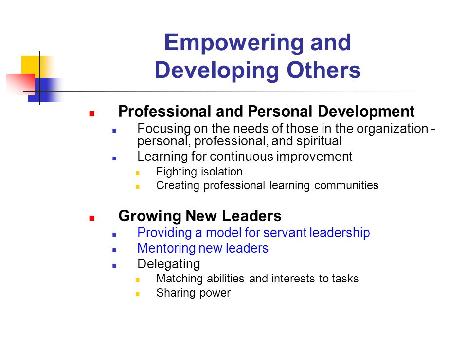 Empowering and Developing Others Professional and Personal Development Focusing on the needs of those in the organization - personal, professional, an