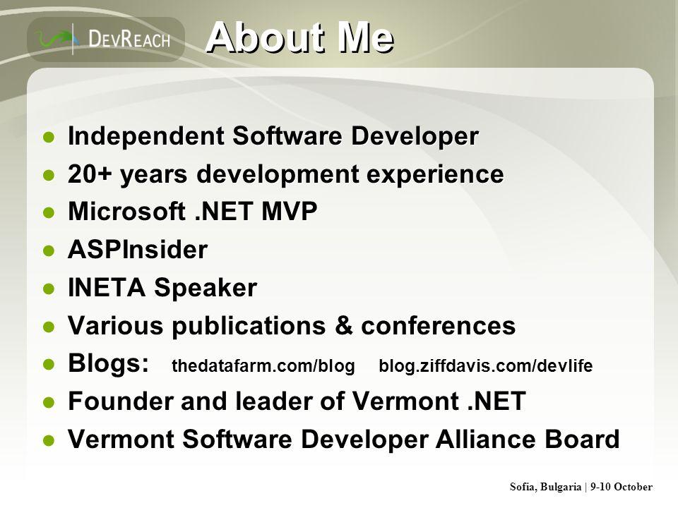 Sofia, Bulgaria | 9-10 October About Me Independent Software Developer 20+ years development experience Microsoft.NET MVP ASPInsider INETA Speaker Var