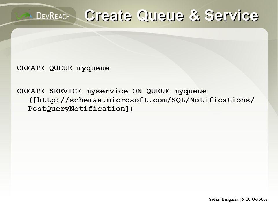 Sofia, Bulgaria | 9-10 October Create Queue & Service CREATE QUEUE myqueue CREATE SERVICE myservice ON QUEUE myqueue ([http://schemas.microsoft.com/SQ