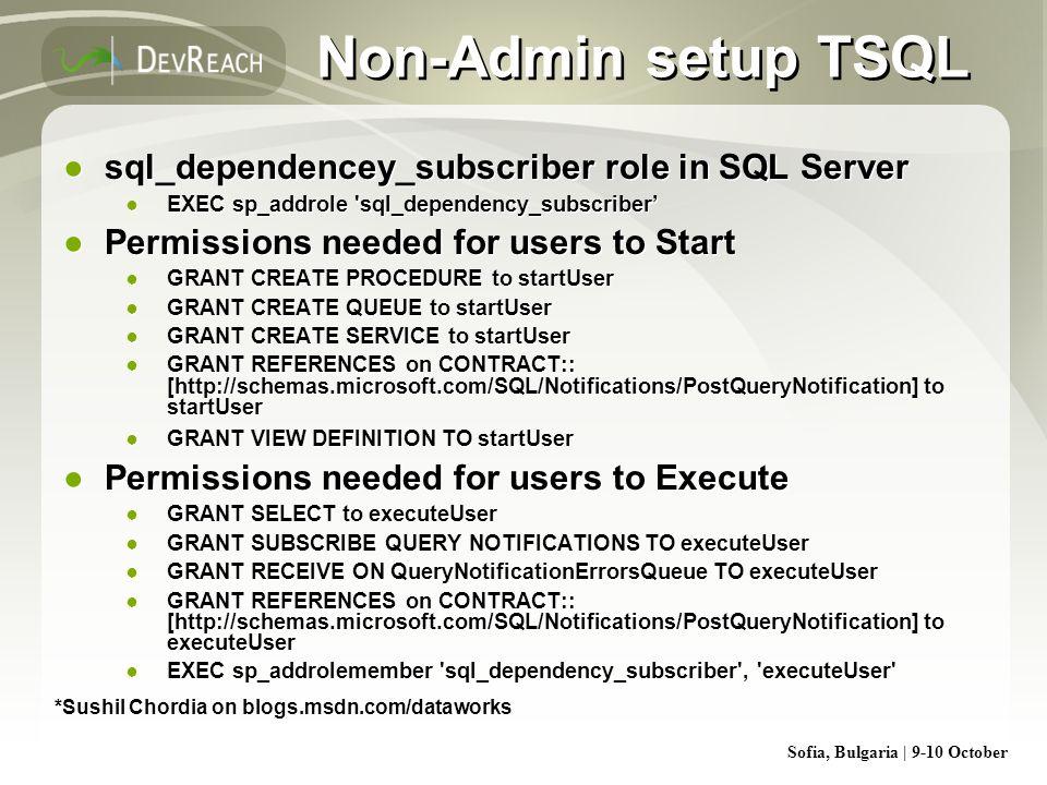 Sofia, Bulgaria | 9-10 October Non-Admin setup TSQL sql_dependencey_subscriber role in SQL Server EXEC sp_addrole 'sql_dependency_subscriber Permissio