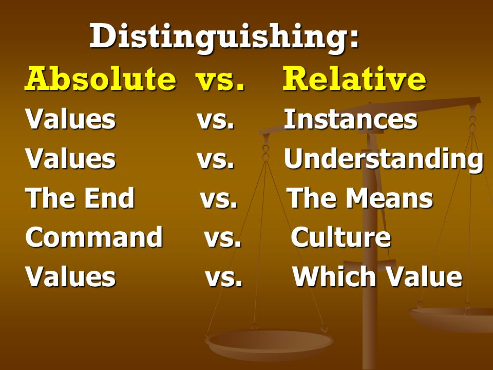 Distinguishing: Absolute vs. Relative Distinguishing: Absolute vs. Relative Values vs. Instances Values vs. Instances Values vs. Understanding Values
