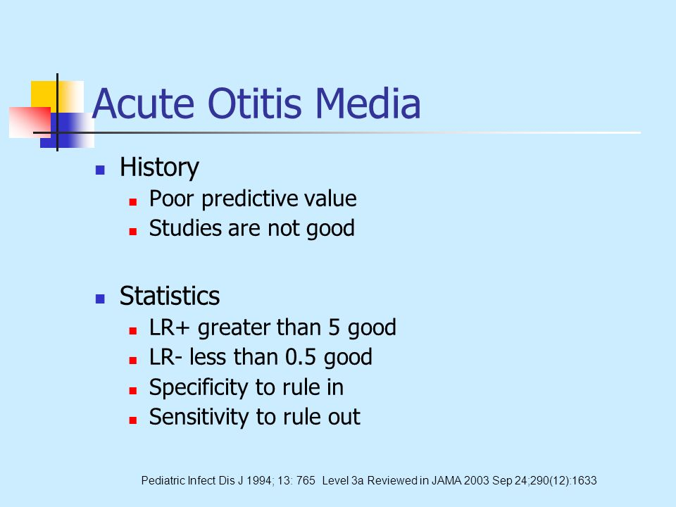 Acute Otitis Media History Poor predictive value Studies are not good Statistics LR+ greater than 5 good LR- less than 0.5 good Specificity to rule in