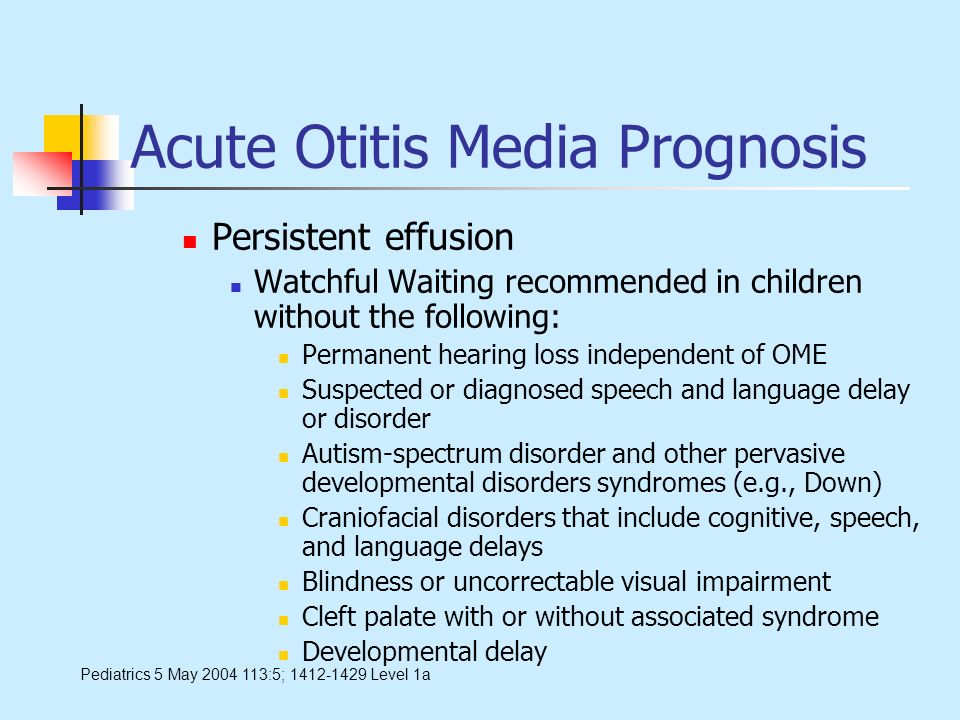 Acute Otitis Media Prognosis Persistent effusion Watchful Waiting recommended in children without the following: Permanent hearing loss independent of