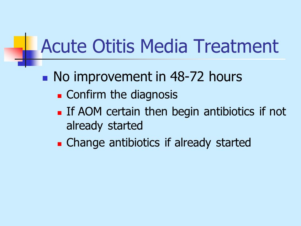 Acute Otitis Media Treatment No improvement in 48-72 hours Confirm the diagnosis If AOM certain then begin antibiotics if not already started Change a