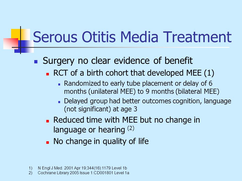 Serous Otitis Media Treatment Surgery no clear evidence of benefit RCT of a birth cohort that developed MEE (1) Randomized to early tube placement or