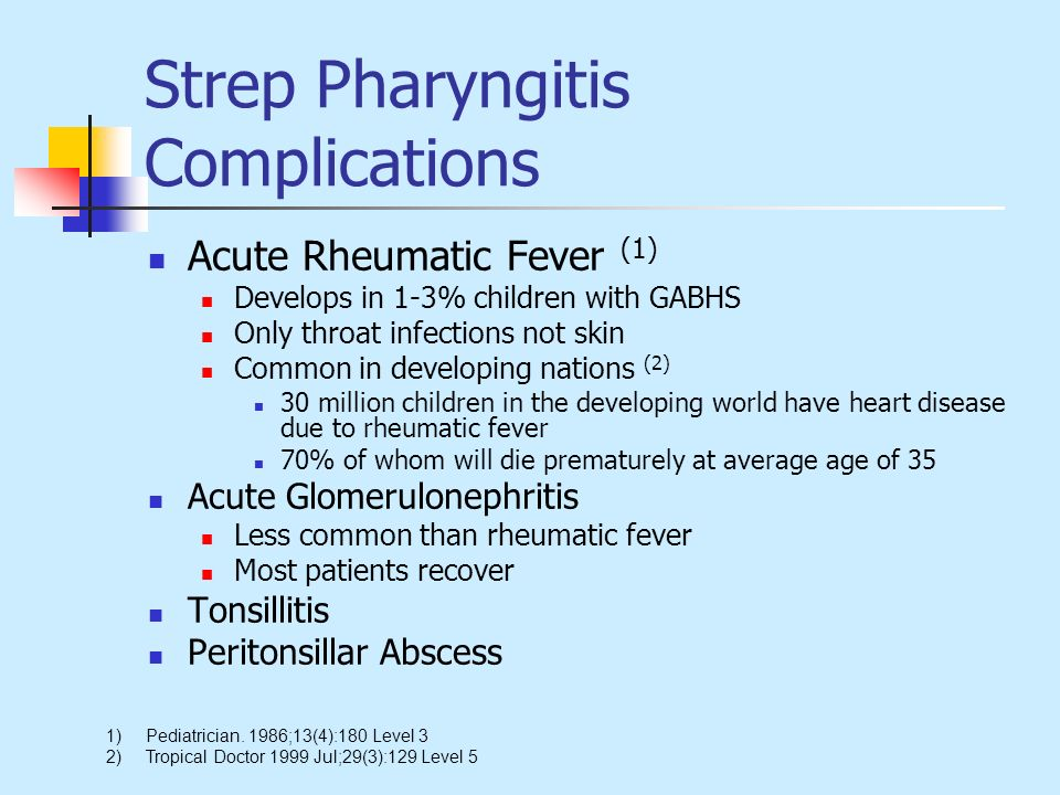 Strep Pharyngitis Complications Acute Rheumatic Fever (1) Develops in 1-3% children with GABHS Only throat infections not skin Common in developing na
