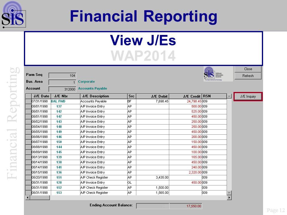 View J/Es WAP2014 Page 12 Financial Reporting