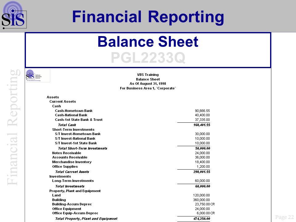 Balance Sheet PGL2233Q Page 22 Financial Reporting