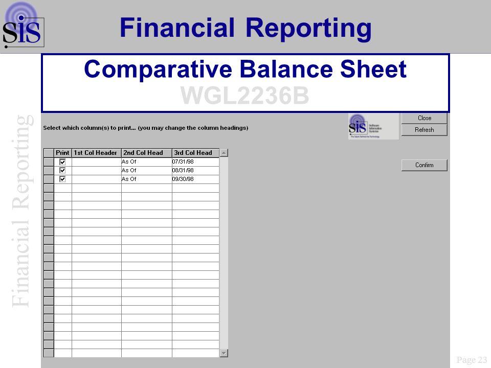 Comparative Balance Sheet WGL2236B Page 23 Financial Reporting