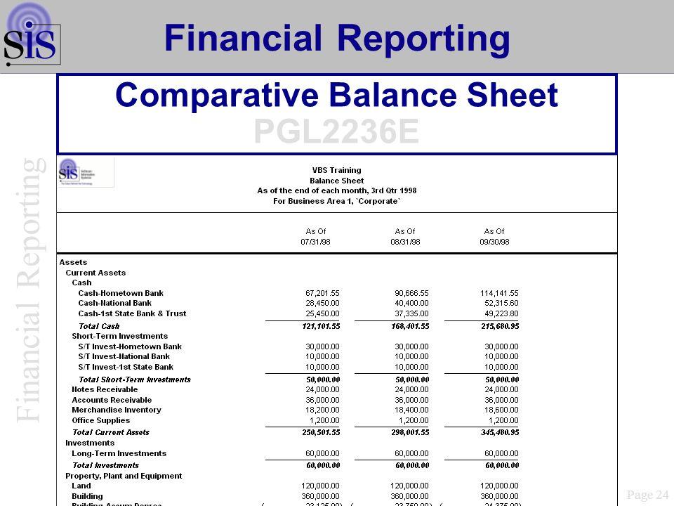 Comparative Balance Sheet PGL2236E Page 24 Financial Reporting