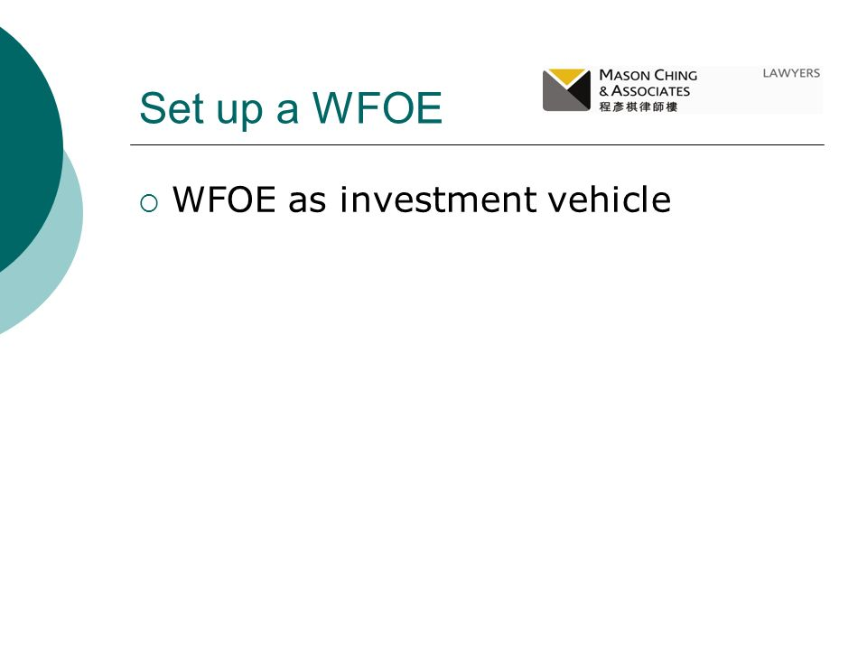 Set up a WFOE WFOE as investment vehicle