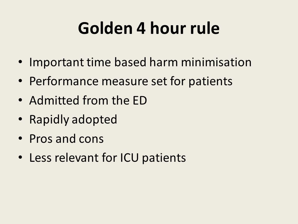 Golden 4 hour rule Important time based harm minimisation Performance measure set for patients Admitted from the ED Rapidly adopted Pros and cons Less