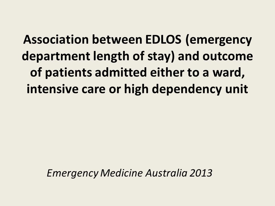 Glossary EDLOS emergency department length of stay ED emergency department LOS length of stay ICU intensive care unit SDU step down unit Access block is EDLOS greater than 8 hours, patients waiting an inpatient bed in the ED resulting in overcrowding Short stay ward is observation ward