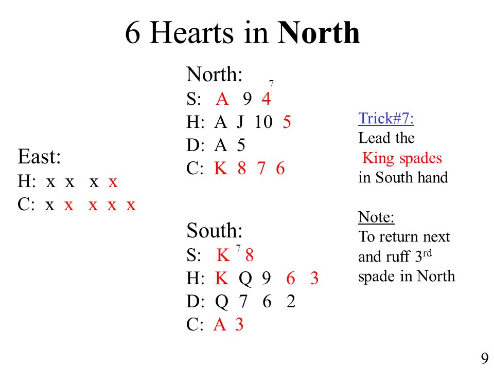 6 Hearts in North North: S: A 9 4 H: A J 10 5 D: A 5 C: K 8 7 6 South: S: K 8 H: K Q 9 6 3 D: Q 7 6 2 C: A 3 9 East: H: x x x x C: x x x x x Trick#7: Lead the King spades in South hand Note: To return next and ruff 3 rd spade in North 7 7