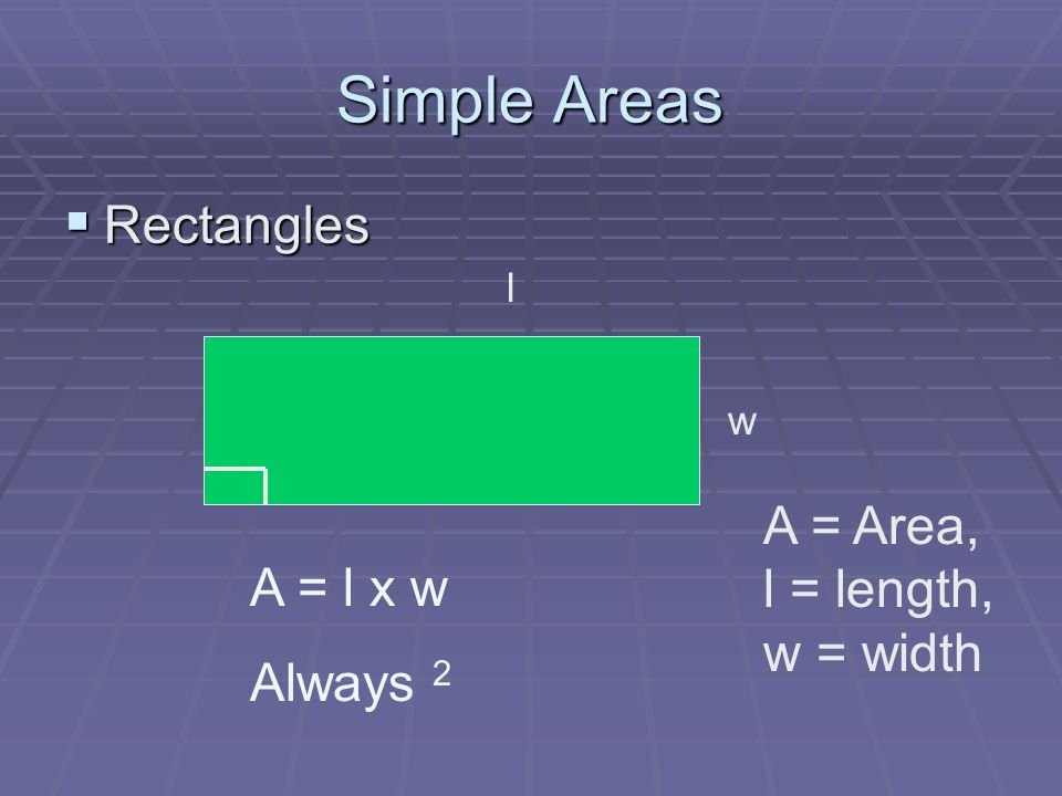 Simple Areas Rectangles Rectangles l w A = l x w Always 2 A = Area, l = length, w = width