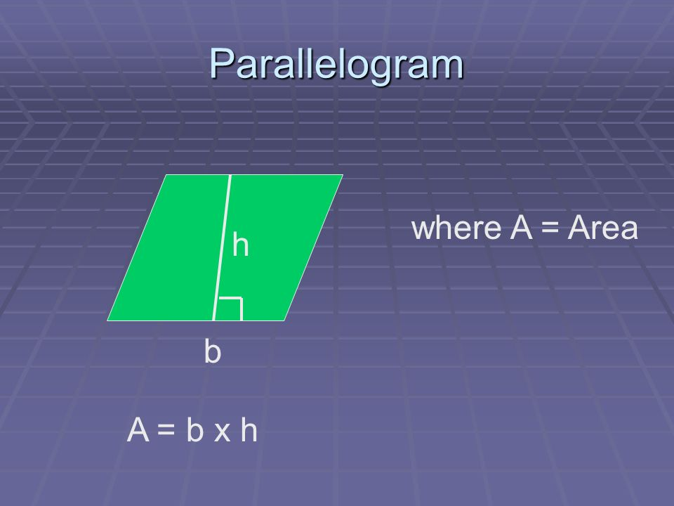 Triangles Where A = Area h = height b = base b h A = ½ bh or bh 2