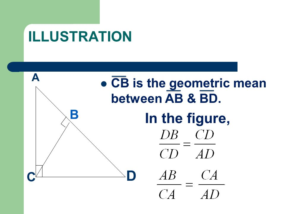 ILLUSTRATION CB is the geometric mean between AB & BD. A B D C In the figure,
