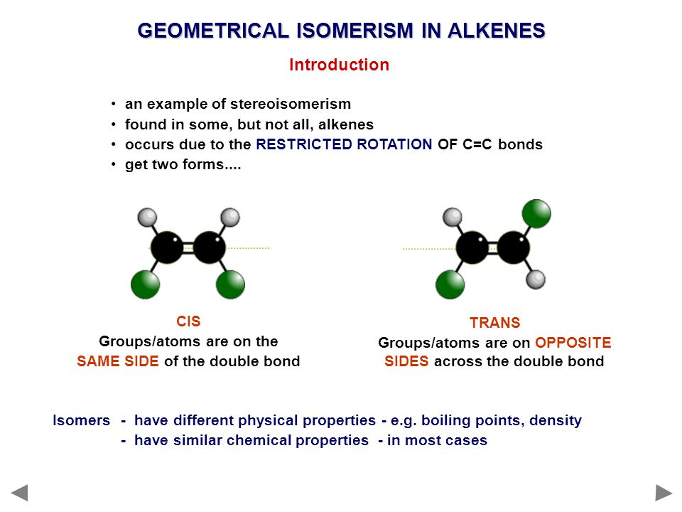 GEOMETRICAL ISOMERISM IN ALKENES Introduction an example of stereoisomerism found in some, but not all, alkenes occurs due to the RESTRICTED ROTATION