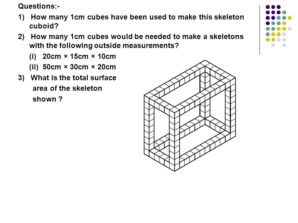 Here is a picture of a skeleton cuboid that has been made by sticking together a lot of cubes, each of edge 1cm. You can easily check that the base of