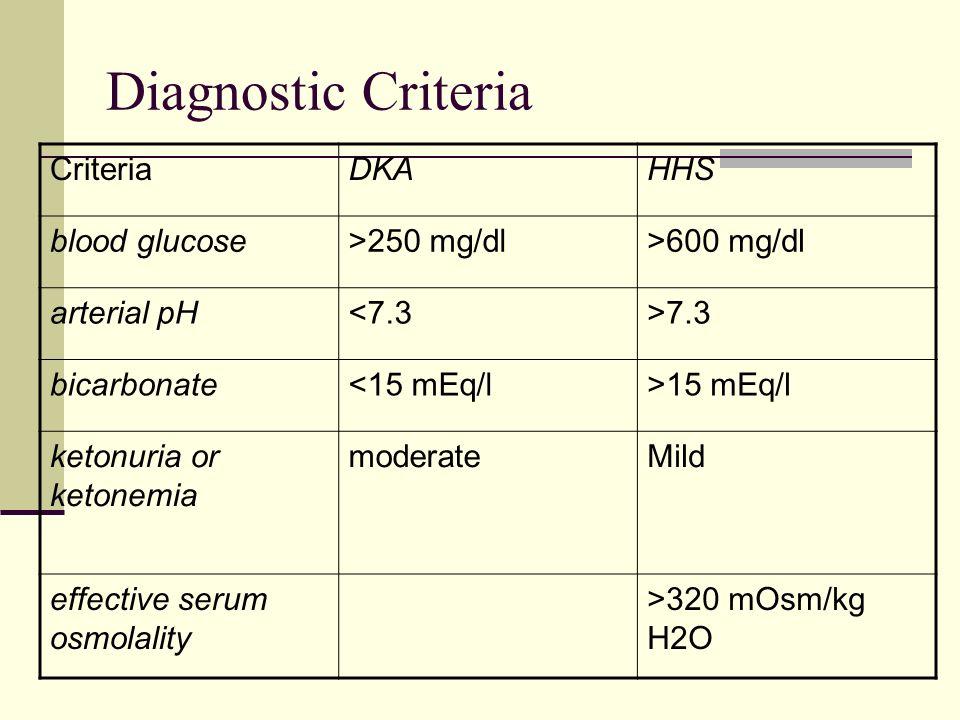 Diagnostic Criteria CriteriaDKAHHS blood glucose>250 mg/dl>600 mg/dl arterial pH<7.3>7.3 bicarbonate<15 mEq/l>15 mEq/l ketonuria or ketonemia moderate