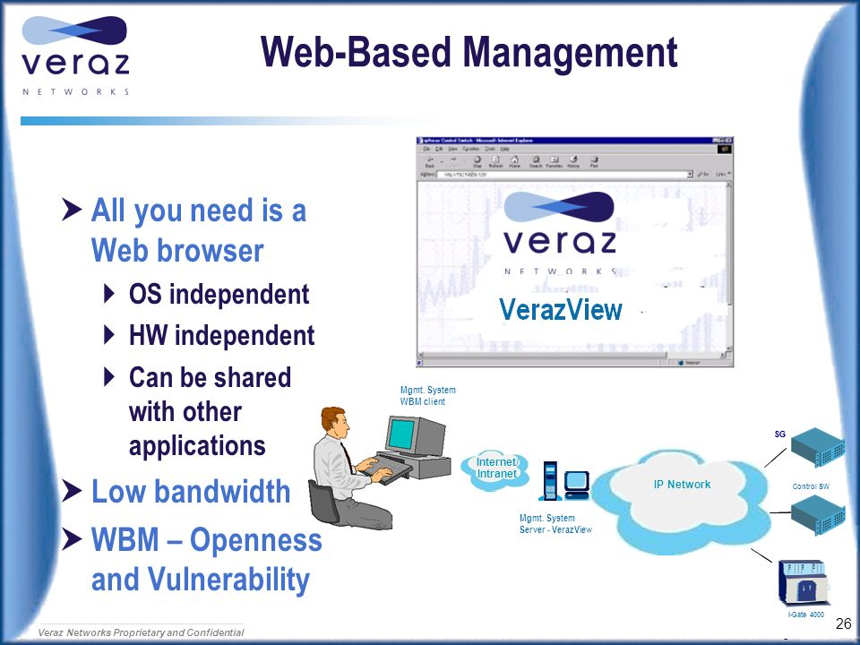 25 Veraz Networks Proprietary and Confidential Security Administrator Who are the active users ? Force Logout Suspend What are the users doing ?