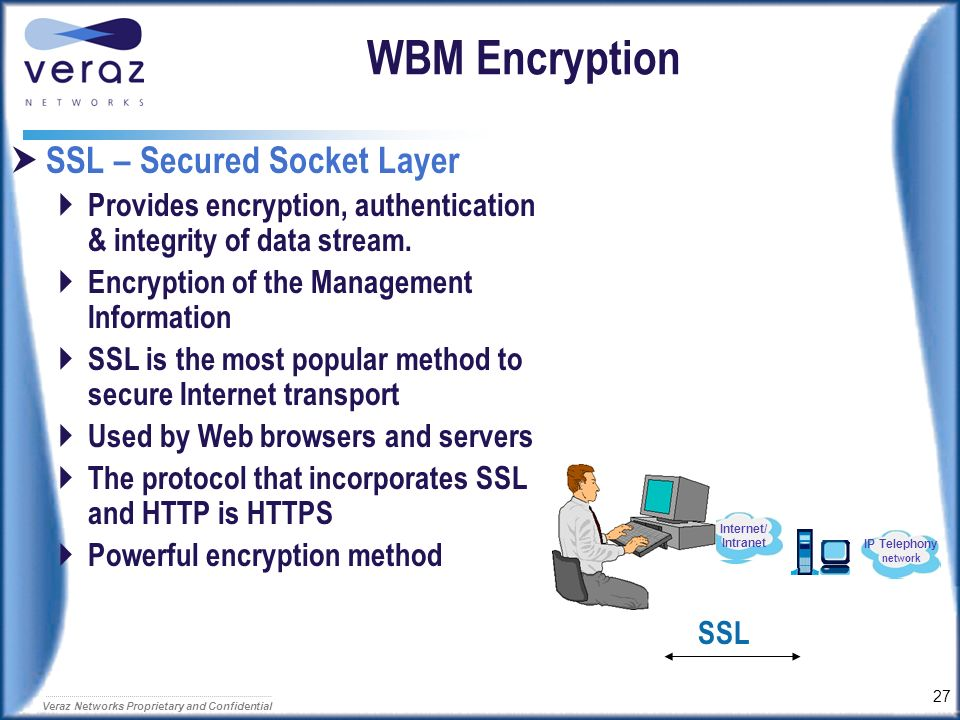 26 Veraz Networks Proprietary and Confidential Web-Based Management All you need is a Web browser OS independent HW independent Can be shared with oth