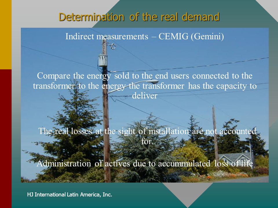 HJ International Latin America, Inc. Determination of the real demand Indirect measurements – CEMIG (Gemini) Administration of actives due to accummul