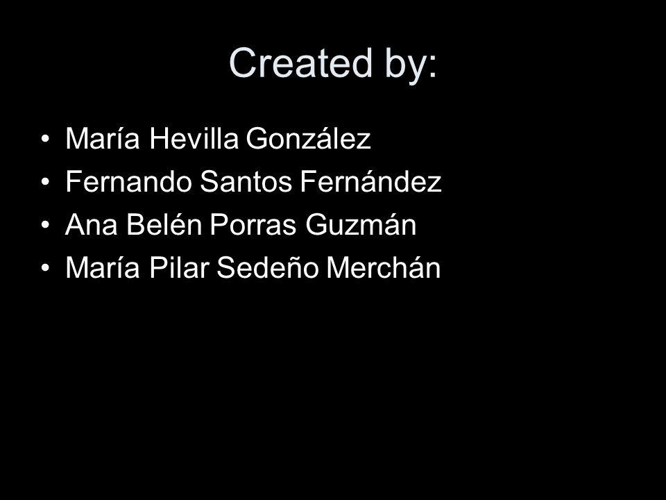 Created by: María Hevilla González Fernando Santos Fernández Ana Belén Porras Guzmán María Pilar Sedeño Merchán