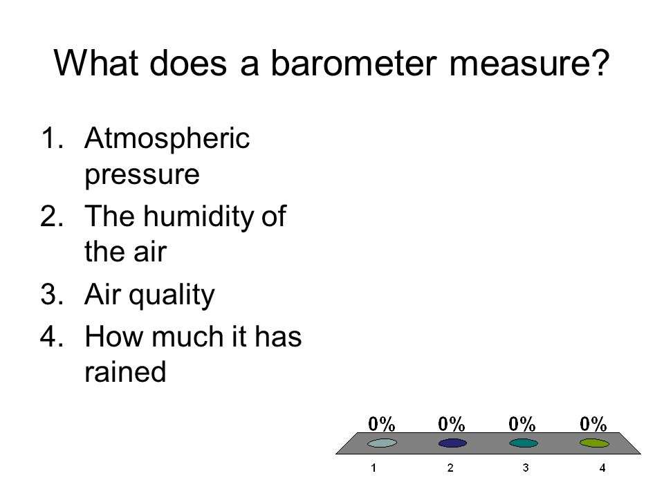 What does a barometer measure? 1.Atmospheric pressure 2.The humidity of the air 3.Air quality 4.How much it has rained