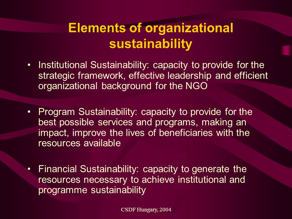 CSDF Hungary, 2004 Elements of organizational sustainability Institutional Sustainability: capacity to provide for the strategic framework, effective leadership and efficient organizational background for the NGO Program Sustainability: capacity to provide for the best possible services and programs, making an impact, improve the lives of beneficiaries with the resources available Financial Sustainability: capacity to generate the resources necessary to achieve institutional and programme sustainability