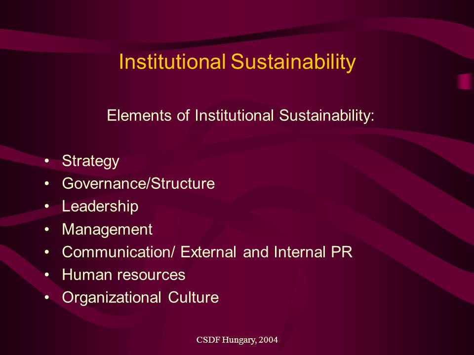 CSDF Hungary, 2004 Institutional Sustainability Elements of Institutional Sustainability: Strategy Governance/Structure Leadership Management Communication/ External and Internal PR Human resources Organizational Culture