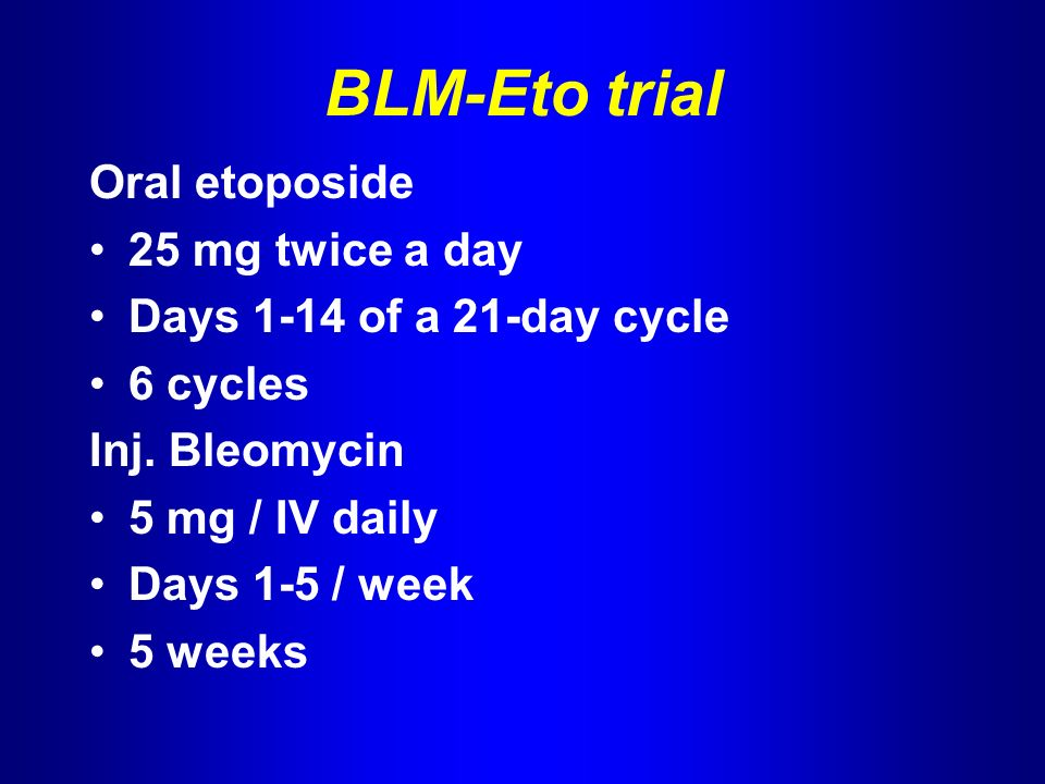 BLM-Eto trial Oral etoposide 25 mg twice a day Days 1-14 of a 21-day cycle 6 cycles Inj.