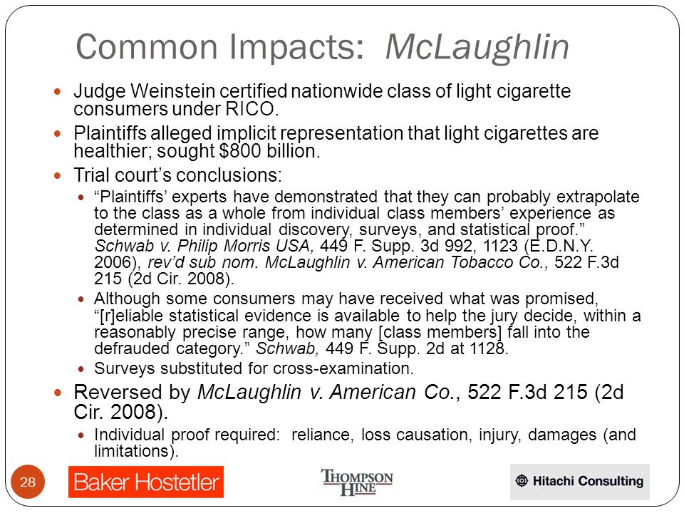 Common Impacts: McLaughlin Judge Weinstein certified nationwide class of light cigarette consumers under RICO.