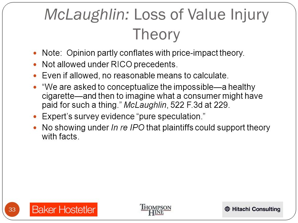 McLaughlin: Loss of Value Injury Theory Note: Opinion partly conflates with price-impact theory.