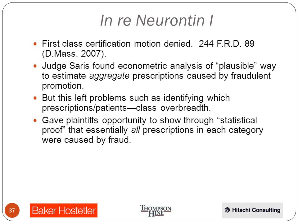 In re Neurontin I First class certification motion denied.