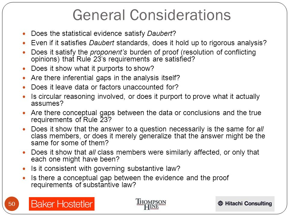 General Considerations Does the statistical evidence satisfy Daubert.