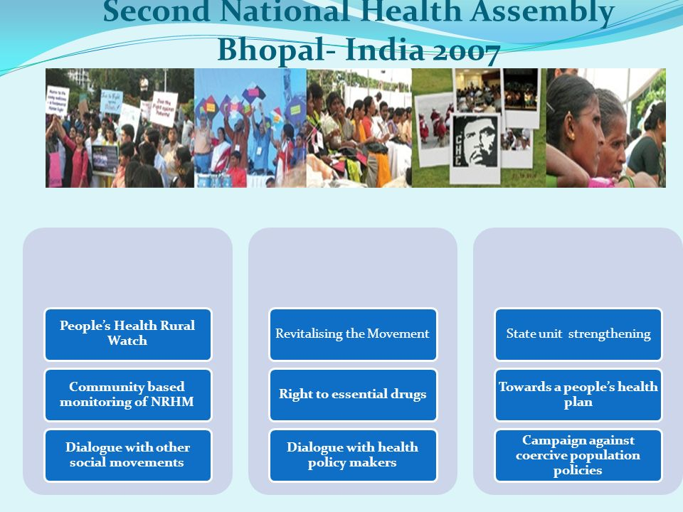 Second National Health Assembly Bhopal- India 2007 Peoples Health Rural Watch Community based monitoring of NRHM Dialogue with other social movements