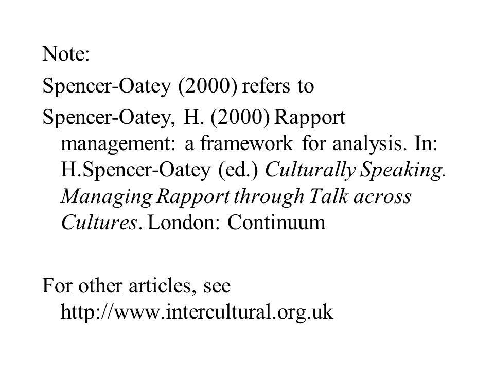 Note: Spencer-Oatey (2000) refers to Spencer-Oatey, H.
