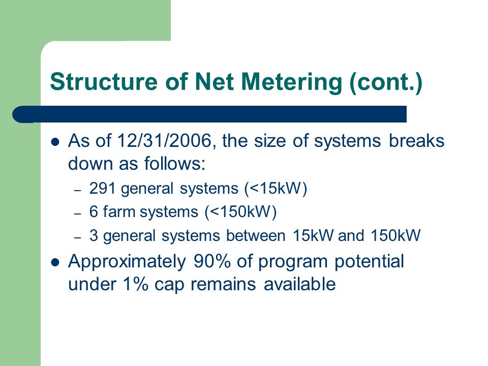 Structure of Net Metering (cont.) As of 12/31/2006, the size of systems breaks down as follows: – 291 general systems (<15kW) – 6 farm systems (<150kW